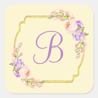 Monogram Initial Gold Frame with Flower Laurels Square Sticker