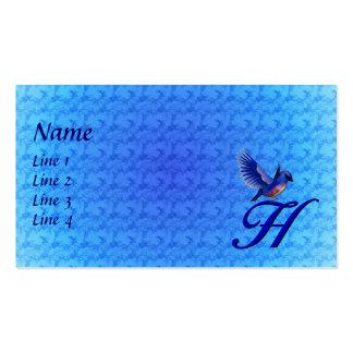 Monogram Initial H Elegant Bluebird Business Card