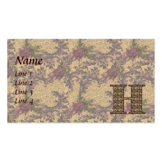 Monogram Initial H Elegant Floral Business Card