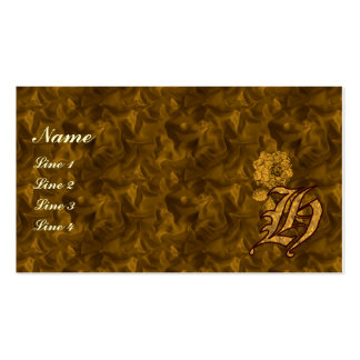 Monogram Initial H Gold Peony Floral Business Card