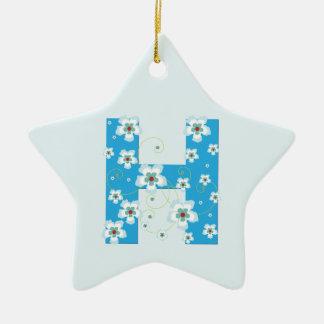 Monogram initial H pretty blue floral ornament