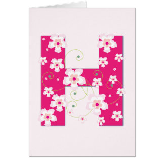 Monogram initial H pretty pink floral card