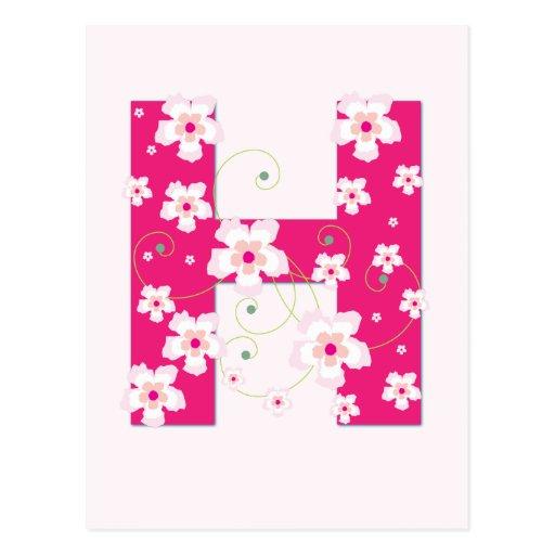 Monogram initial H pretty pink floral postcard