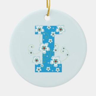 Monogram initial I pretty blue floral ornament