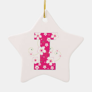 Monogram initial I pretty pink floral ornament