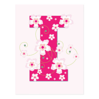 Monogram initial I pretty pink floral postcard