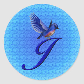 Monogram Initial J Elegant Bluebird Sticker