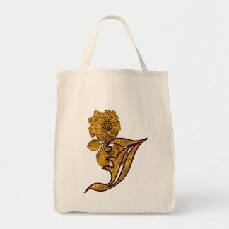 Monogram Initial J Gold Peony Tote Bag
