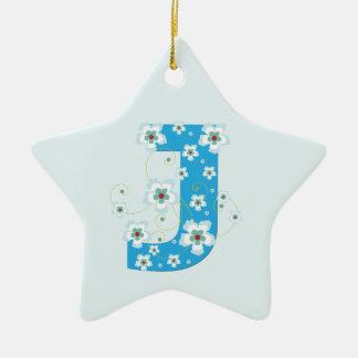 Monogram initial J pretty blue floral ornament