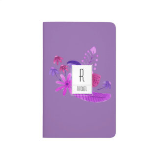Monogram Initial Journal Purple Floral