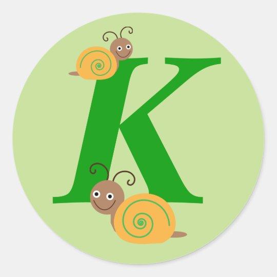 Monogram initial K brian the snail kids stickers
