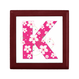 Monogram initial K floral jewelry, trinket box
