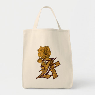 Monogram Initial K Gold Peony Tote Bag