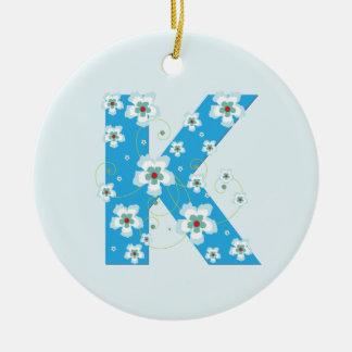 Monogram initial K pretty blue floral ornament