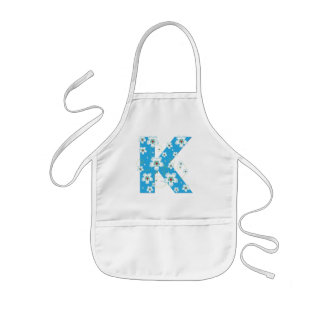 Monogram initial K pretty floral kids, girls apron