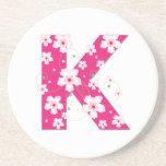 Monogram initial K pretty pink floral coaster, mat