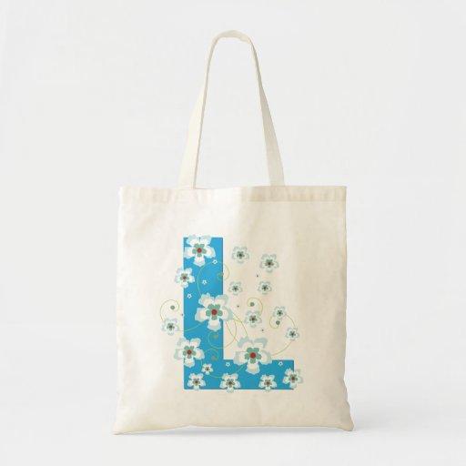 Monogram initial L floral flowery pretty tote bag