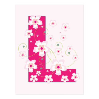 Monogram initial L pretty pink floral postcard