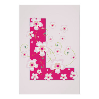 Monogram initial L pretty pink flowers poster