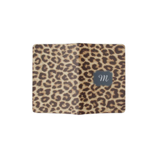 Monogram Initial Leopard Print Passport Holder