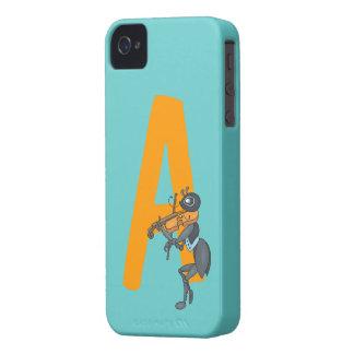Monogram initial letter A, cute ant cartoon custom iPhone 4 Cases