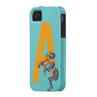 Monogram initial letter A, cute ant cartoon custom iPhone 4/4S Cases