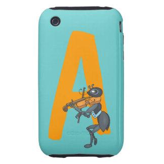 Monogram initial letter A, cute ant cartoon custom iPhone 3 Tough Cases
