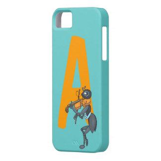 Monogram initial letter A, cute ant cartoon custom iPhone 5 Case