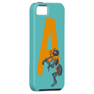 Monogram initial letter A, cute ant cartoon custom iPhone 5 Covers