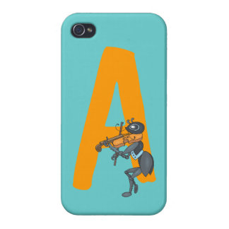 Monogram initial letter A with ant cartoon custom iPhone 4/4S Cover