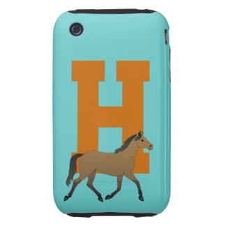 Monogram initial letter H, beautiful horse custom Tough iPhone 3 Cover