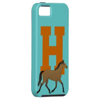 Monogram initial letter H, beautiful horse custom Tough iPhone 5 Case