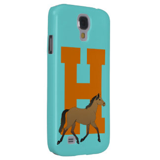 Monogram initial letter H, beautiful horse custom Galaxy S4 Case