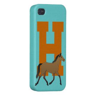 Monogram initial letter H, cute horse custom iPhone 4 Cover