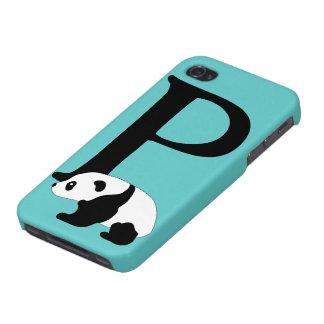 Monogram initial letter P cute panda bear custom iPhone 4/4S Case