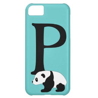 Monogram initial letter P, cute panda custom iPhone 5C Covers