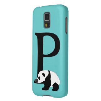 Monogram initial letter P, cute panda custom Galaxy S5 Covers