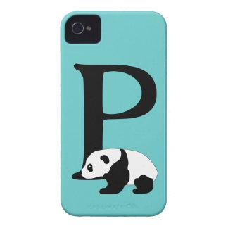 Monogram initial letter P, cute panda custom iPhone 4 Covers