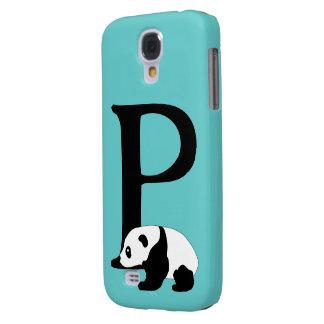 Monogram initial letter P, cute panda custom Galaxy S4 Covers