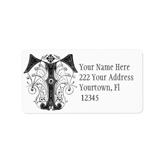 Monogram Initial  Letter T Address Label