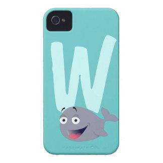 Monogram initial letter W whale cartoon custom Case-Mate Blackberry Case