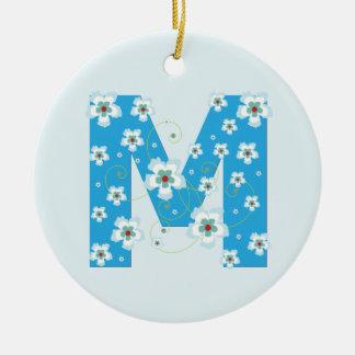 Monogram initial M pretty blue floral ornament