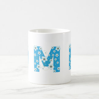 Monogram initial M pretty blue flowers mug