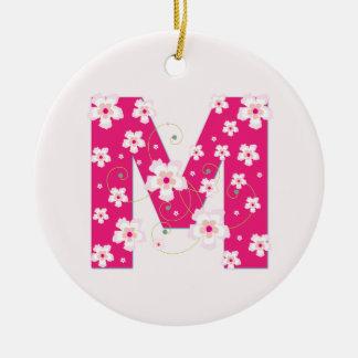 Monogram initial M pretty pink floral ornament