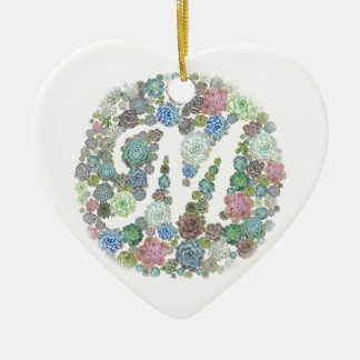 Monogram initial M Succulents design Christmas Ornament