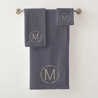Monogram Initial Modern Gold Gray Bath Towel Set