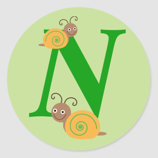 Monogram initial N brian the snail kids stickers