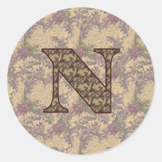 Monogram Initial N Elegant Floral Sticker