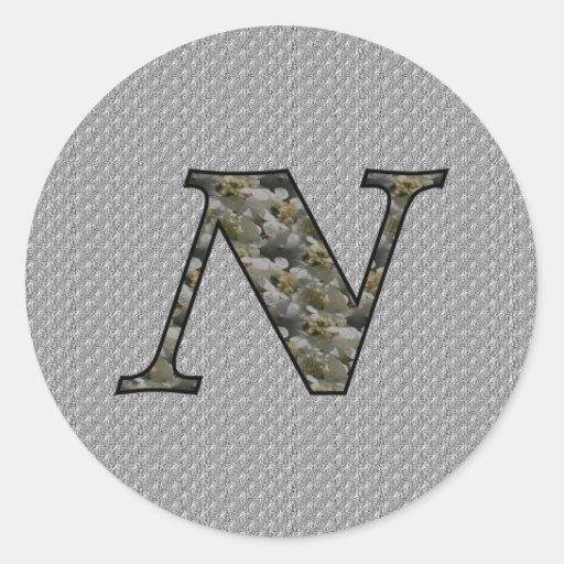 Monogram Initial N Hydrangea Floral Sticker