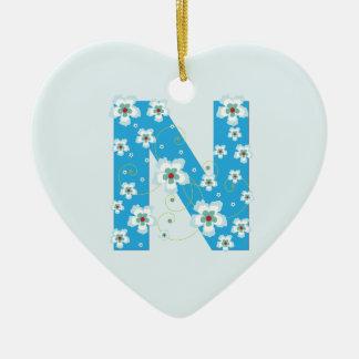 Monogram initial N pretty blue floral ornament